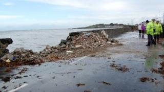 A breach in the Perelle sea wall