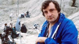 Douglas Adams on the set of the TV series of Hitchhiker's Guide To The Galaxy