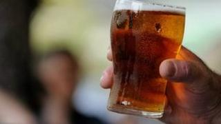 Beer at a city bar