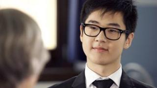Kim Han-sol talking to Elisabeth Rehn in a hand-out video grab taken on 28 May 2012