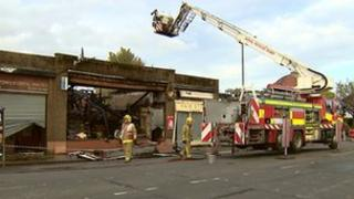 Eight of the nine shops were affected by the fire