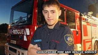 Sam Smith, retained firefighter with Shropshire Fire and Rescue Service