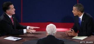 Mitt Romney (left) debates with Barack Obama in Boca Raton, Florida 22 October 2012