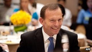 Australian opposition leader Tony Abbott at a breakfast meeting hosted by the China-Australia Chamber of Commerce in Beijing on 24 July, 2012