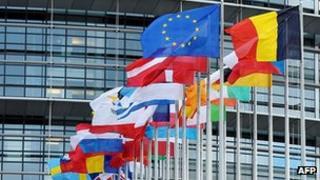 EU states' flags outside European Parliament, Strasbourg