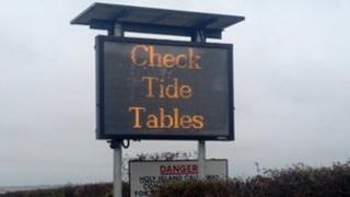 Holy Island electronic sign