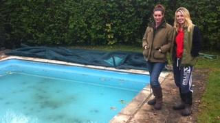 Kelly Ward and friend Becky Trember at the pool in which a pony ended up trapped