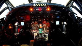 Inside the cockpit of the XH558 Vulcan Bomber