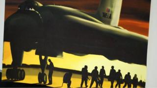Painting of the Vulcan Bomber and the 14 people from the Vulcan to the Sky trust