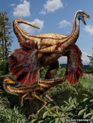 Artist's impression of ornithomimid dinosaur
