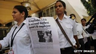 Striking kingfisher employees