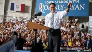 Mitt Romney at a rally in Cedar Rapids, Iowa, on 24 October 2012
