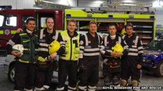 The Royal Berkshire Fire and Rescue Service Extrication team: Michael Humphreys, Ian Handley, Phil Aiken, Paul Maynard, Adam Stevens and Seth Juby (l-r)