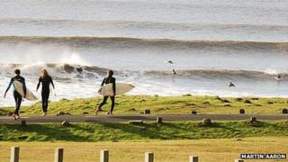 Surfers at Rest Bay, Porthcawl