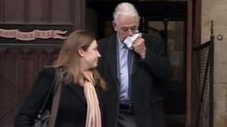 Roger Penny (r) leaving Taunton Crown Court