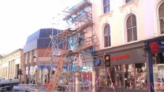 Collapsed scaffolding in Exeter