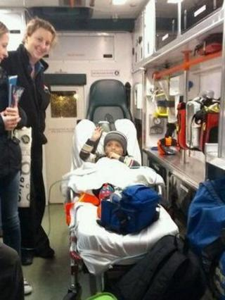 Oscar in the back of the air ambulance