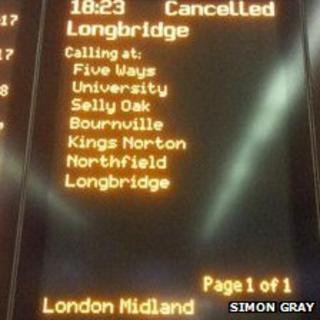 Cancelled train sign