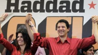 Fernando Haddad celebrates his election as Sao Paulo mayor