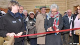 Gail Stuart opens the Eric Morecambe hide at RSPB Leighton Moss