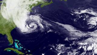 Satellite image of Hurricane Sandy, off the east coast of America