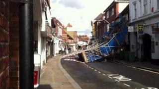 Scaffolding collapsed on the Old Bell