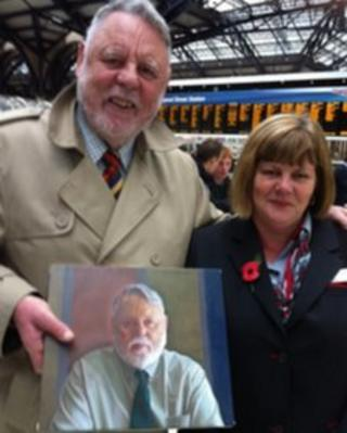 Terry Waite and Julie Bedford with the reunited painting