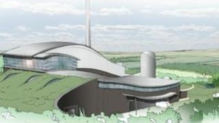 Proposed waste to energy incinerator. Artists impression.