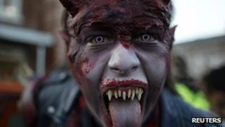 A costumed performer during a Halloween horror party in the western city of Bottrop, Germany (file image from 18 October 2012)