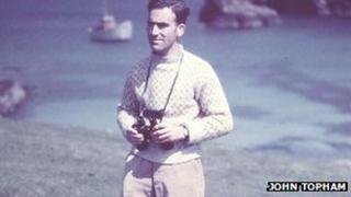 George Waterston on Fair Isle with binoculars