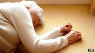 elderly lady who has fallen