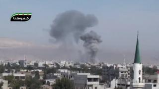 Screengrab of online video purportedly showing smoke rising from eastern Ghouta after air strike (31 October 2012)