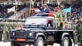 President Yoweri Museveni at celebrations to mark Uganda's independence (9 October 2012)