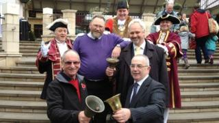 Clockwise from bottom left: David Peking; Peter Dauncey, director of the Ancient and Honourable Guild of Town Criers; Mayor of the Royal Borough of Windsor and Maidenhead, Colin Rayner; Owen Collier, vice-chairman of the Ancient and Honourable Guild of Town Criers and Roy Austin; with Mike Foster middle left and Chris Brown middle right.