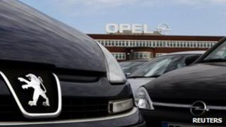 Opel cars lined up outside GM's Bochum plant