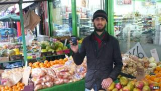 Shop manager Mohammed Aftab in his shop