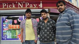 Shop workers outside Pick 'n' Pay in Ipswich