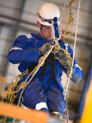 A Dron & Dickson rope access technician at work