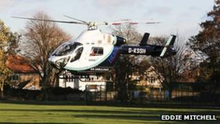 The air ambulance in Worthing