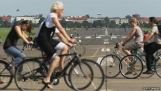 Cyclists at a former Berlin airport