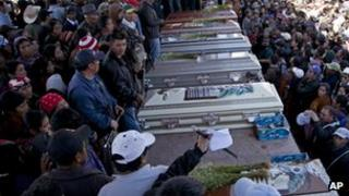 Funeral of six protesters killed in Totonicapan October 2012