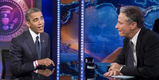 President Barack Obama meets comedy show host Jon Stewart