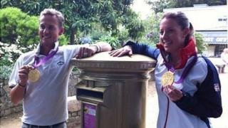 Carl Hester and Charlotte Dujardin visit the gold postbox in Sark