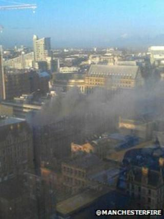 Aerial view of smoke from the bakery fire in Manchester