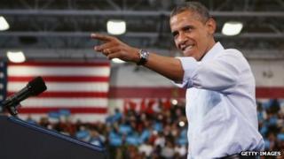 Barack Obama at a campaign rally in Lima, Ohio 2 November 2012