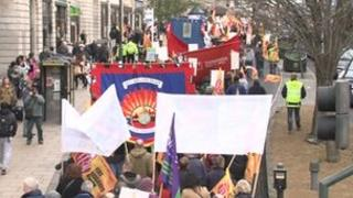 firefighters march in Leeds
