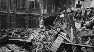 WWII bomb damage in Houses of Parliament in London