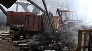 Burnt barn at New Manor Farm