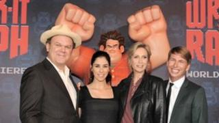 Wreck-It Ralph voice stars John C Reilly (l), Sarah Silverman and Jane Lynch (r)