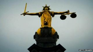Statue of Justice on the roof of the Old Bailey, London
